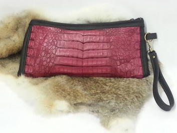 Dyed-caiman-crocodile-clutch