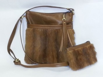 Mink and lamb cross body bag with matching change purse